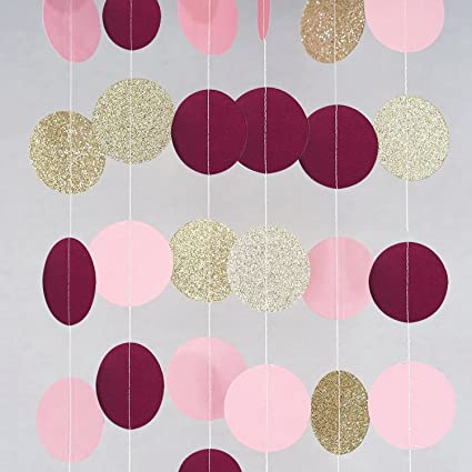 c26a1c5ee038 Bridal Shower Decorations Burgundy Pink Glitter Gold Birthday Decorations  Circle Dots Paper Party Garland Backdrop (