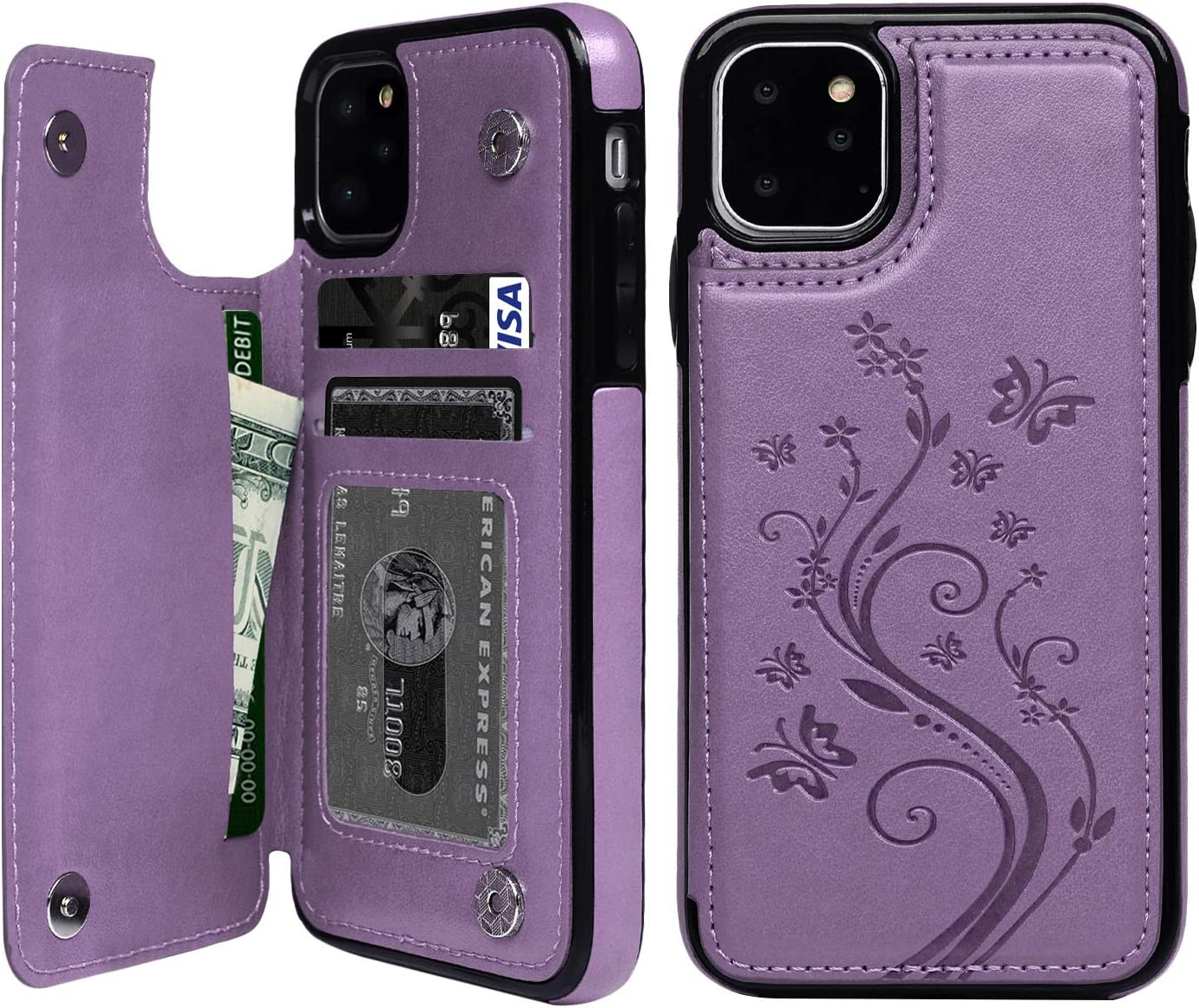 iPhone 11 Pro Wallet Case, Case with Card Holder Embossed Butterfly Premium PU Leather Double Magnetic Buttons Flip Shockproof Protective Cover for iPhone 11 5.8 inch, Purple