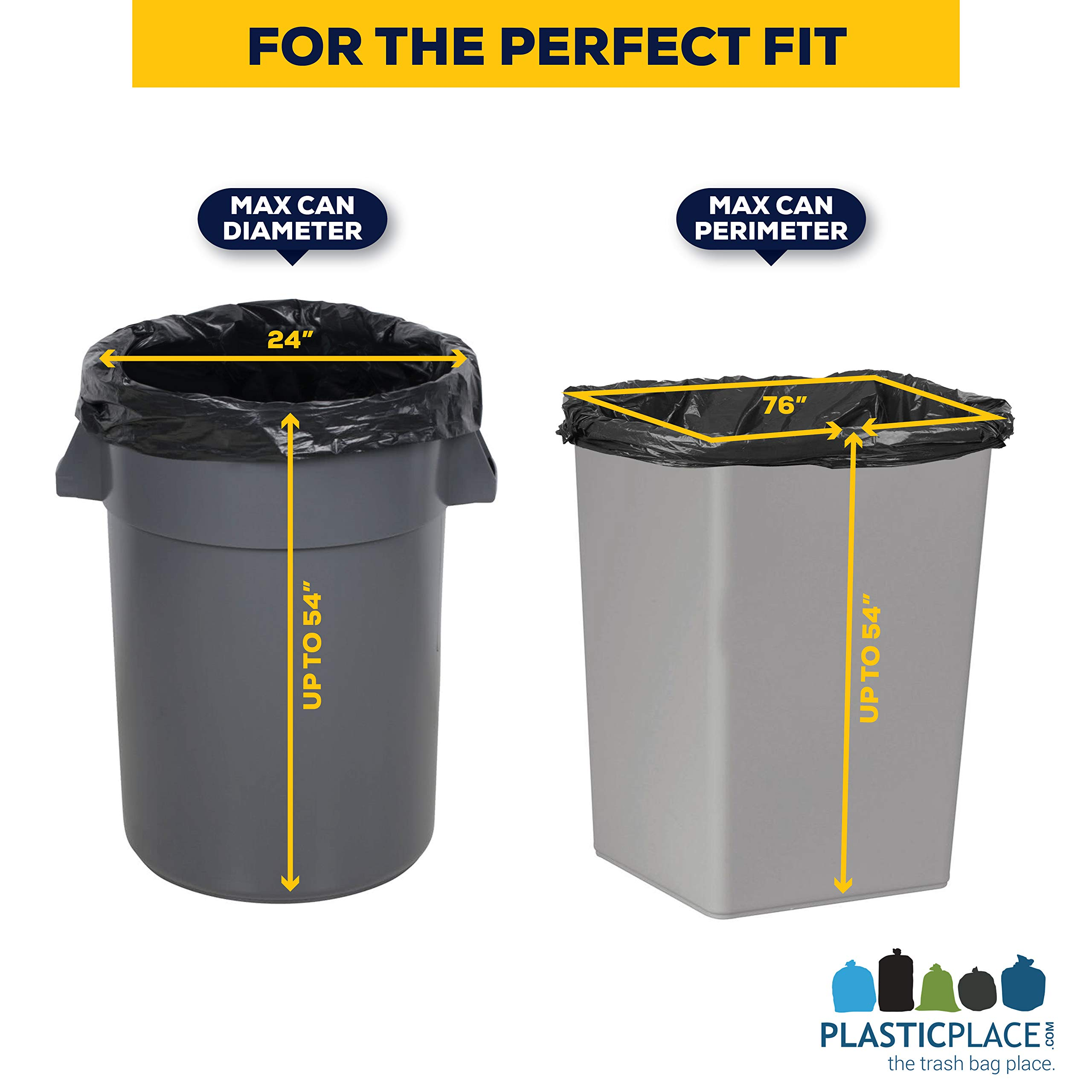 Plasticplace Contractor Trash Bags 55-60 Gallon │ 3.0 Mil │ Black Heavy Duty Garbage Bag │ 38'' x 58'' (50 Count) by Plasticplace (Image #4)
