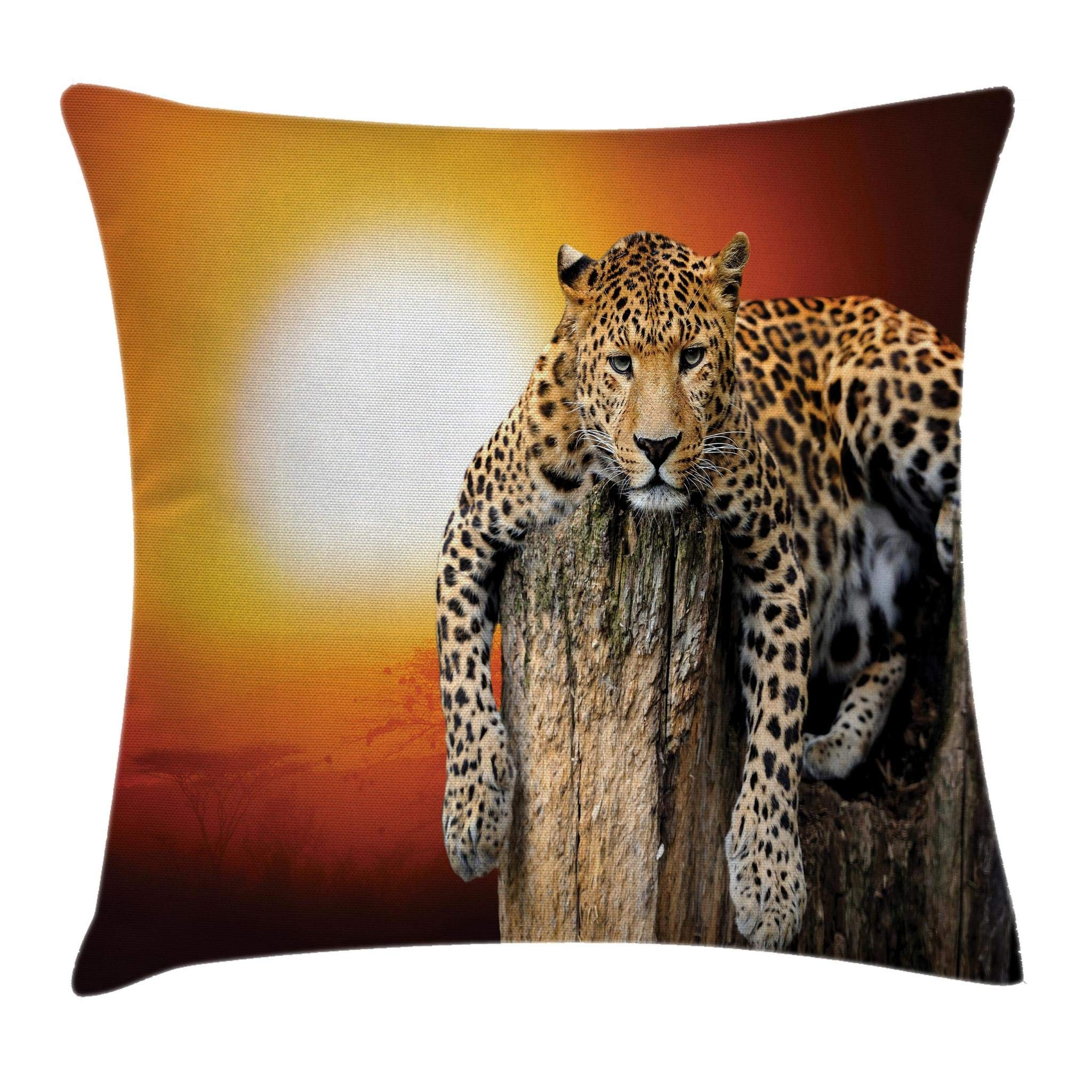 Ambesonne Safari Throw Pillow Cushion Cover, Leopard Sitting on Dry Tree at Sunset Danger in The Air Big Cat with Spotted Form, Decorative Square Accent Pillow Case, 18'' X 18'', Orange Brown