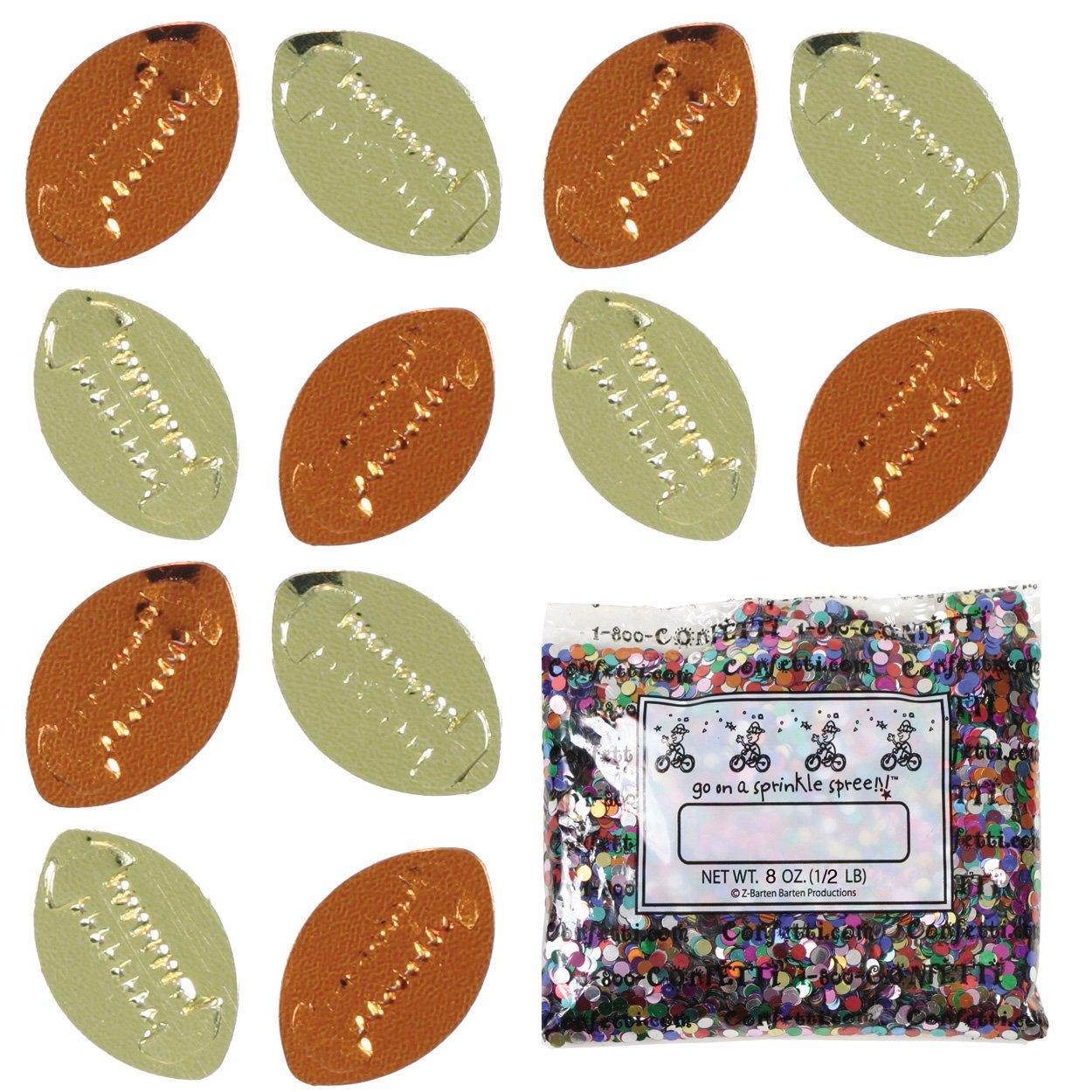 Confetti Football Gold, Orange Mix - Half Pound Bag (8 oz) FREE SHIPPING --- (CCP9540) by Jimmy Jems (Image #1)