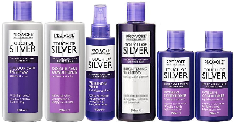 Provoke Touch of Silver Colour Care Shampoo x 200ml   Colour Care  Conditioner x 200ml   Primer x 150ml   Touch of Silver Brightening Shampoo  x 200ml   Touch ... 1d2d39c78033