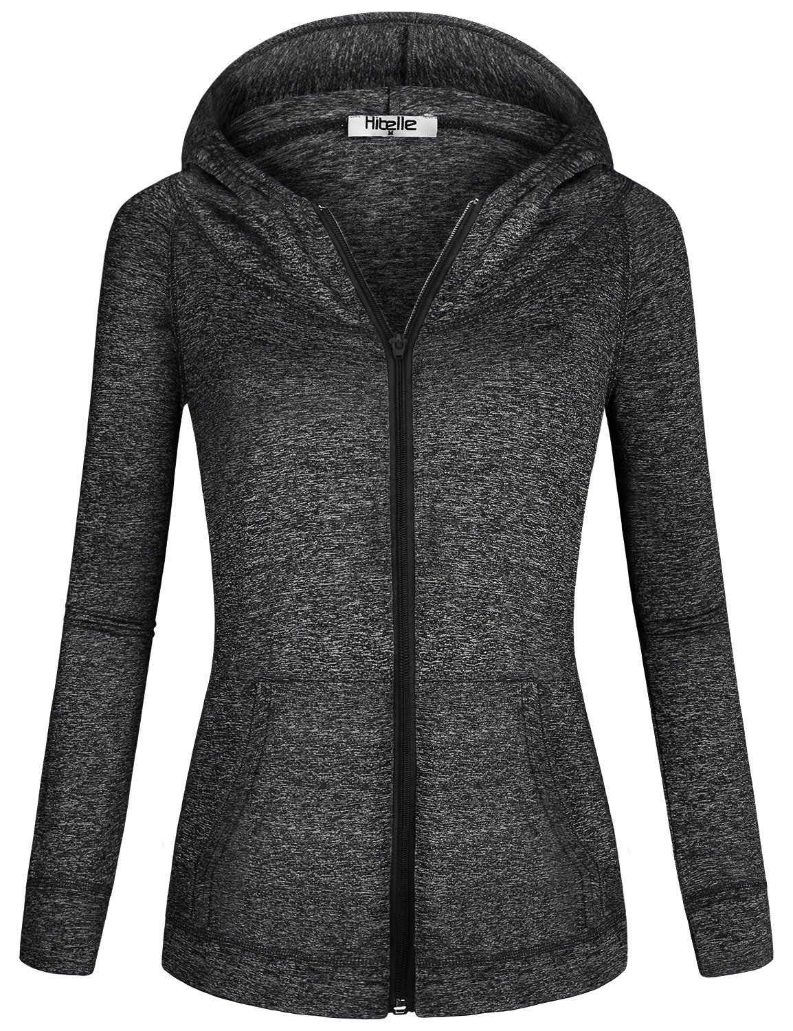 Hibelle Jackets for Women with Hoodie, Womans Black Sports Dressy Sweatshirts Raglan Sleeve Athletic Sporting Kangaroo Pouch Pockets Full Zip up Hoody Casual Running Track Suit XX Large
