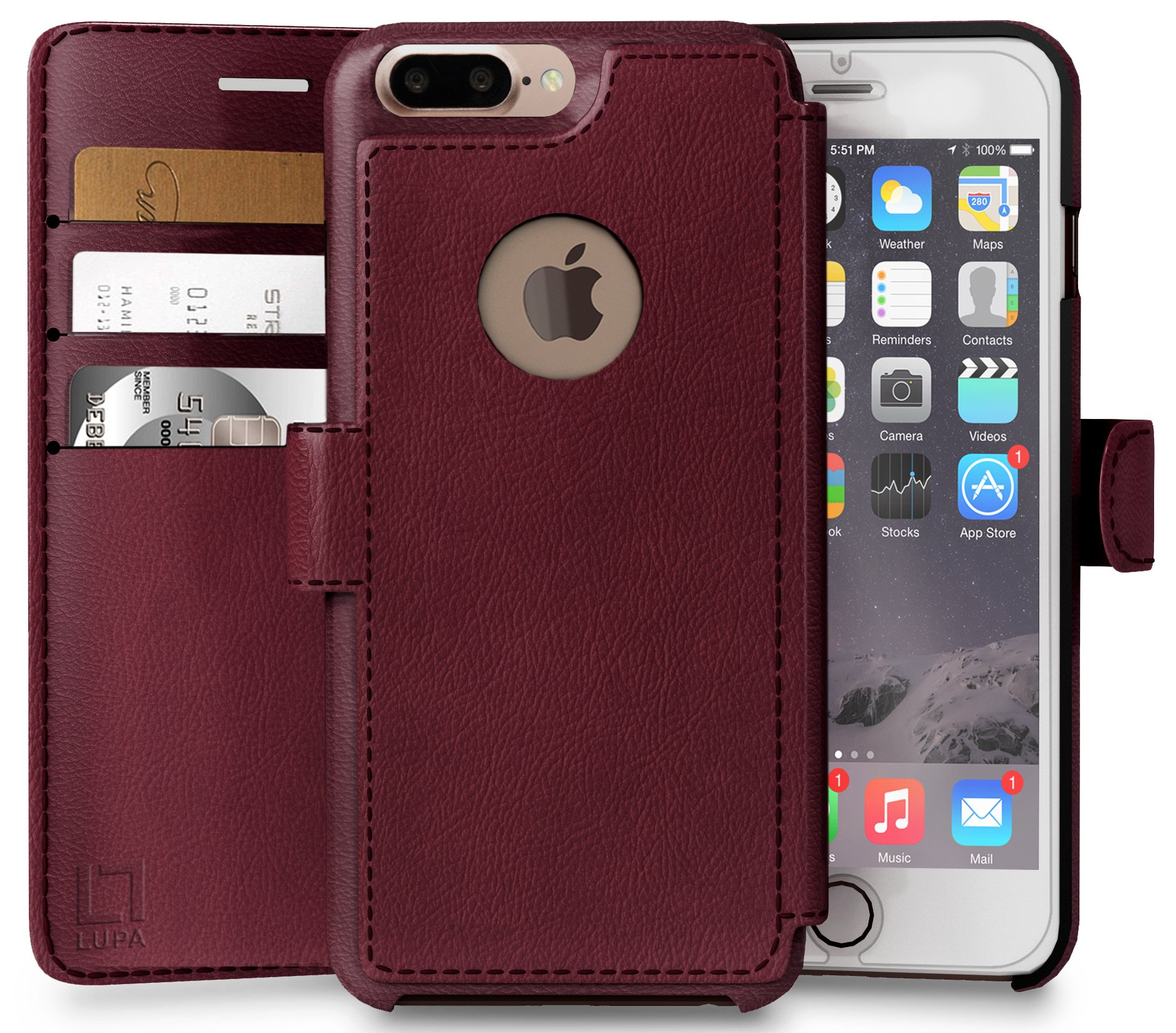LUPA Wallet Case iPhone 8 Plus, Durable and Slim, Lightweight with Classic Design & Ultra-Strong Magnetic Closure, Faux Leather, Burgundy, Apple 8 Plus by LUPA