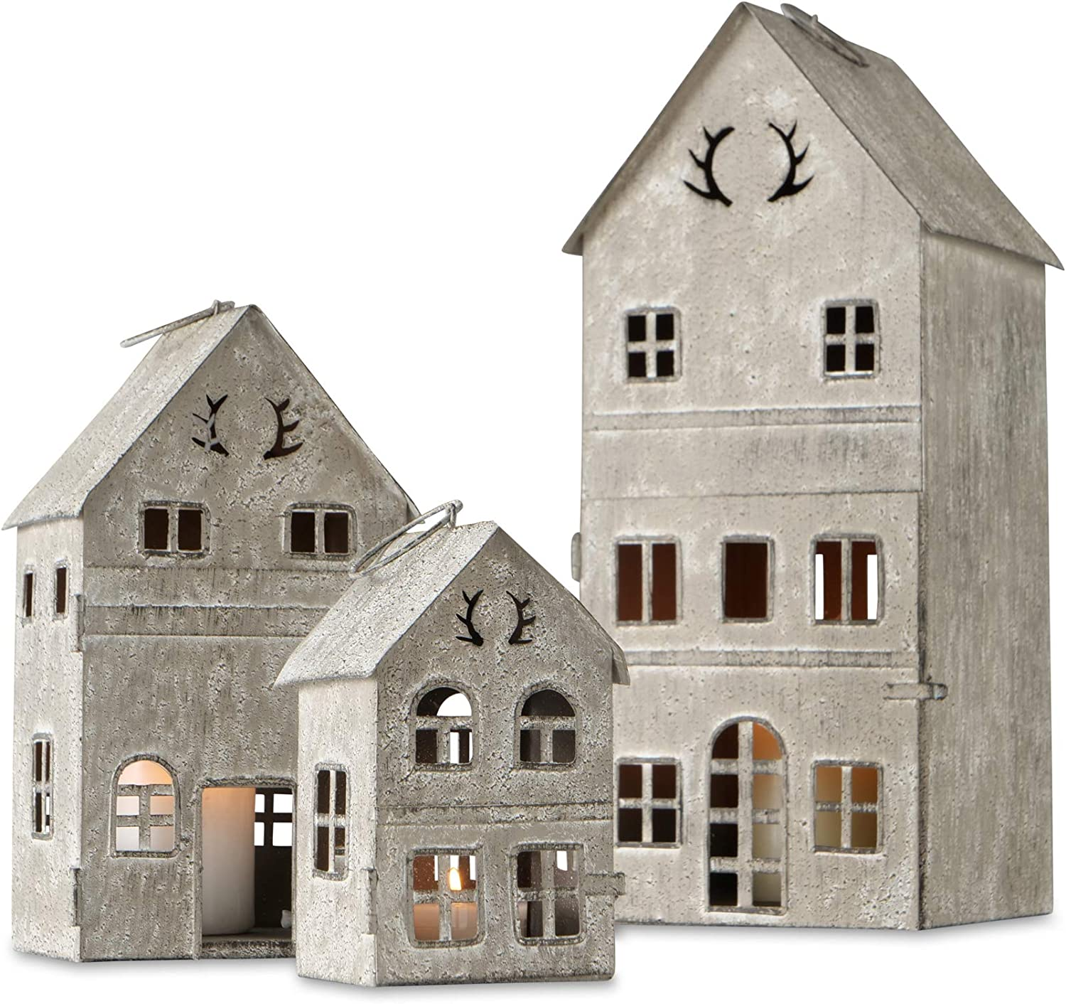 Main Street Town House Candle Lanterns, Set of 3, Vintage Style, Antler Details, Weathered White and Rustic Grey, Metal, Hinged Doors, 13.75, 8.25, and 5.25 Inches Tall