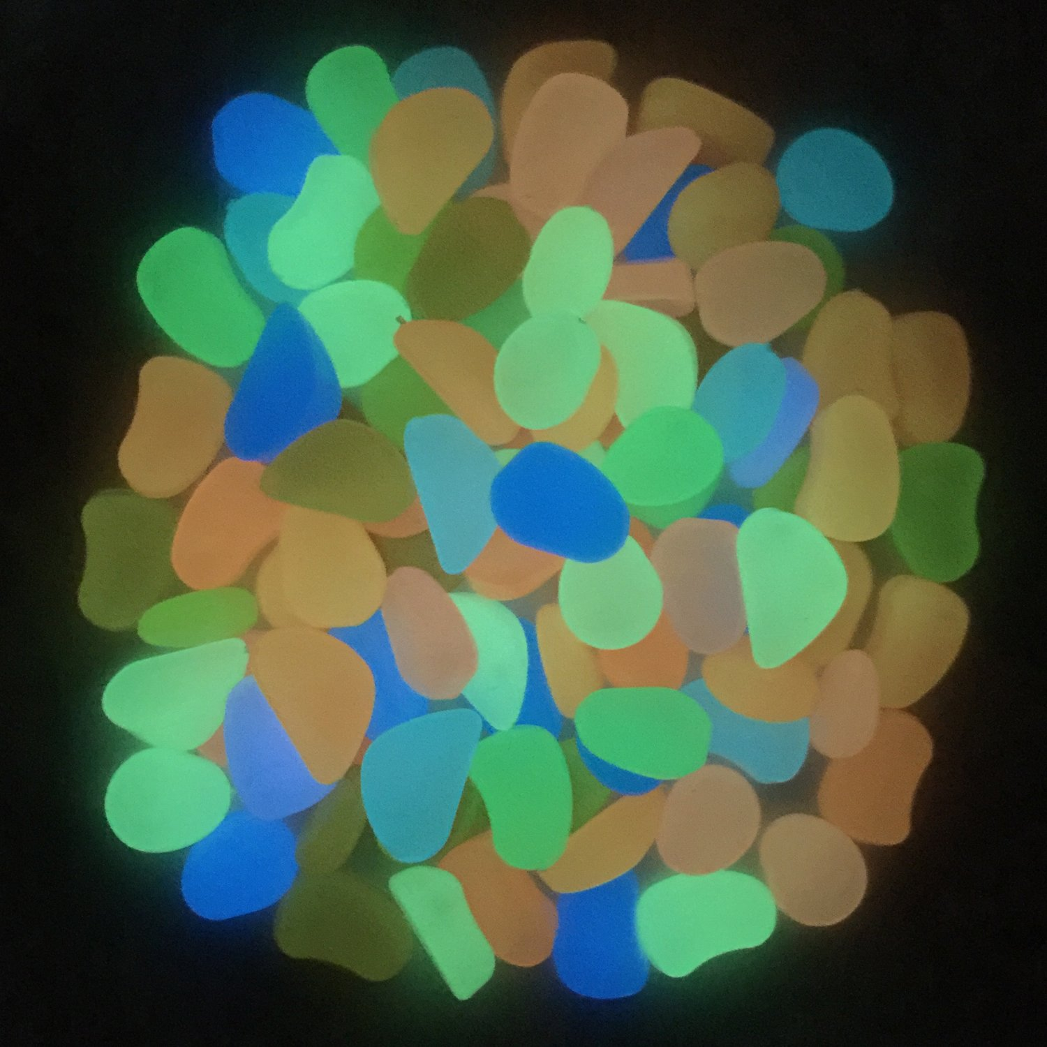 Glow in the Dark pebble Photoluminescent artificial rock Fluorescent cobblestone Noctilucent resin stone for fish tank garden trails decoration 250 g Blue-Green