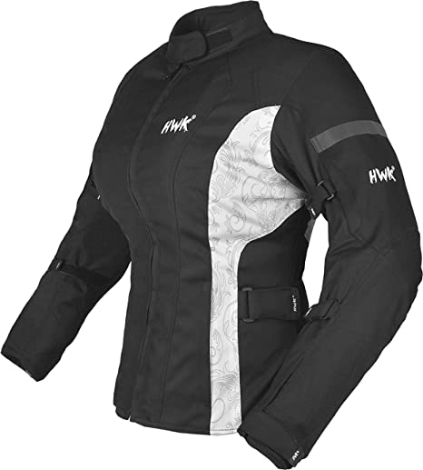HWK Womens Motorcycle Jacket For Women Rain Waterproof Moto Riding Ladies Motorbike Jackets CE Armored (Black/White, X-Large)