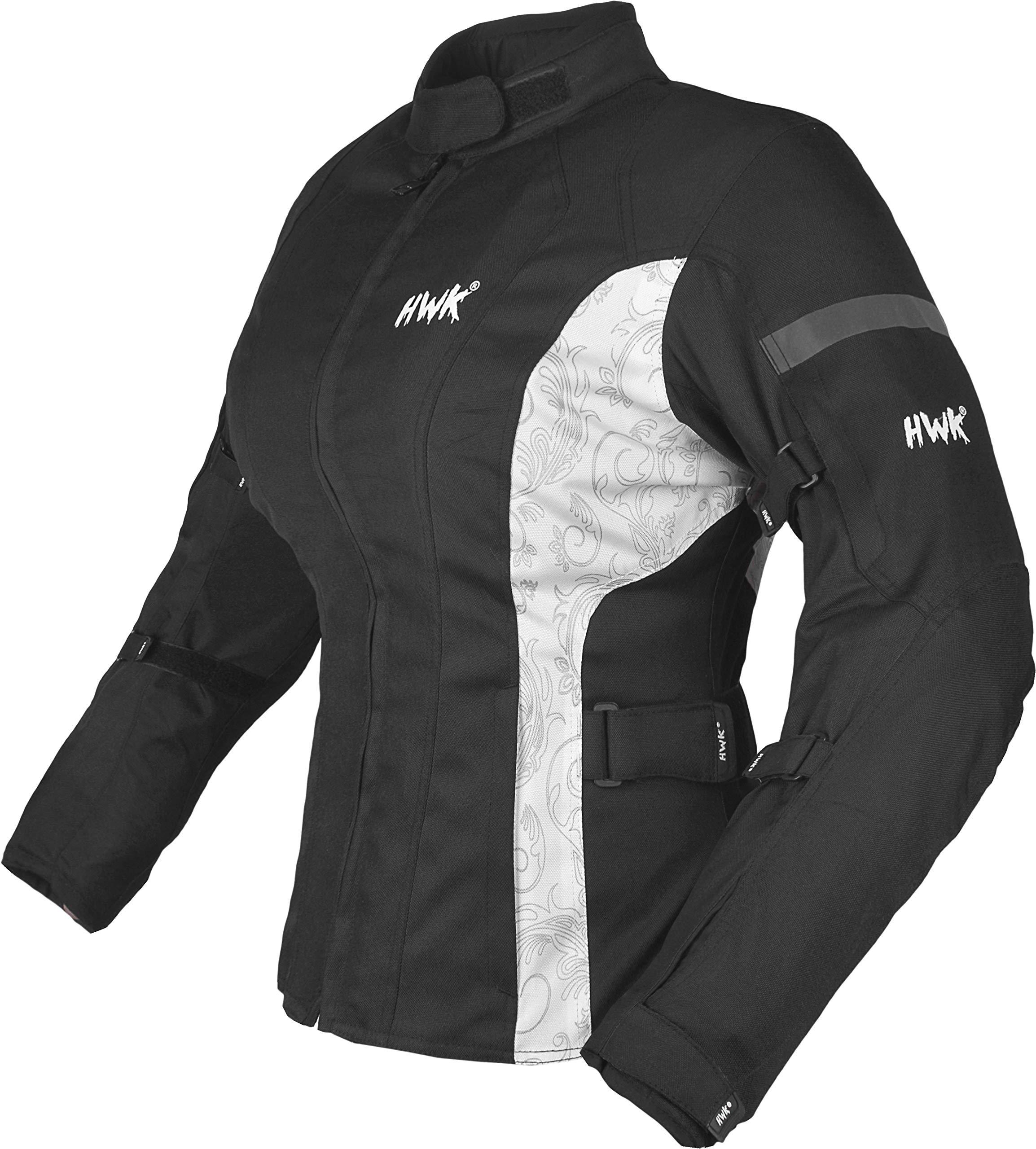 HWK Women's Motorcycle Jacket For Women Rain Waterproof Moto Riding Ladies Motorbike Jackets CE Armored (Black/White, X-Large)