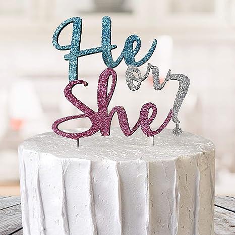 baby Shower Cake Topper Boy Or Girl Cake Glitter Gender Reveal Cake Topper