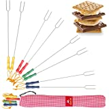 Naturo Marshmallow Roasting Sticks with Storage Bag and 2 Cooking E-books, 8 Smores Skewers