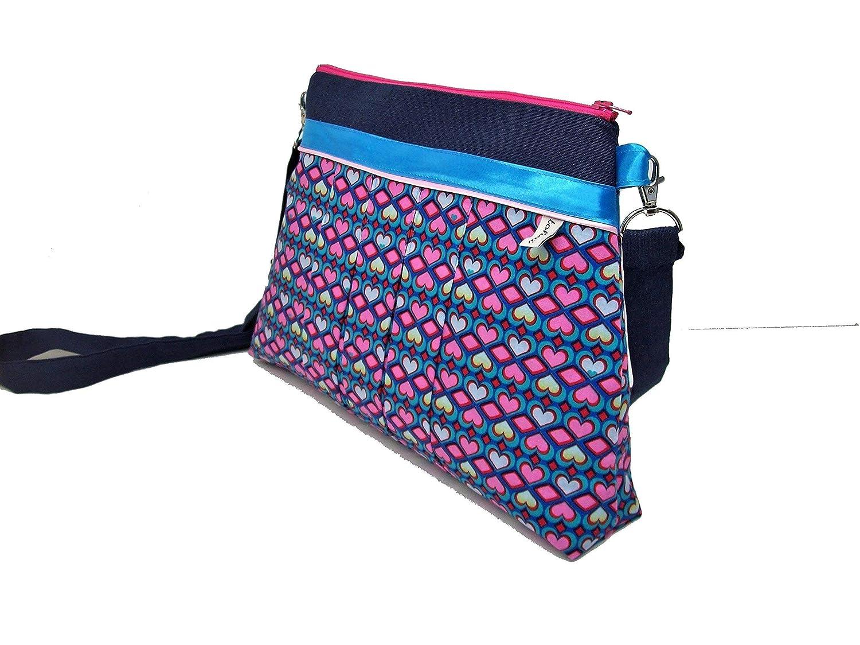 c139efaf41cc7 sac bandouliere bleu marine a coeurs roses, pochette bandouliere en toile  et tissu graphique plissé, cadeau femme, sac a main zippé, fete des meres   ...