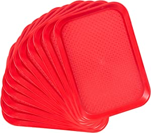 12-pack Fast Food Cafeteria Tray | Twelve 10 x 14 Rectangular Textured Plastic Food Serving TV Tray Multipack | School Lunch, Diner, Commercial Kitchen Restaurant Equipment (Red)
