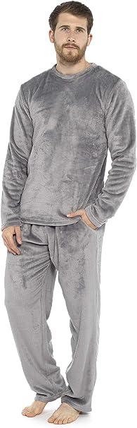 Mens Fleece Pyjama Set Pjs Long Sleeve top and Bottoms Winter Warm LOUNGE WEAR