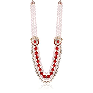 acc155a79 I Jewels Necklace Groom Moti Mala for Men (MLP04R)