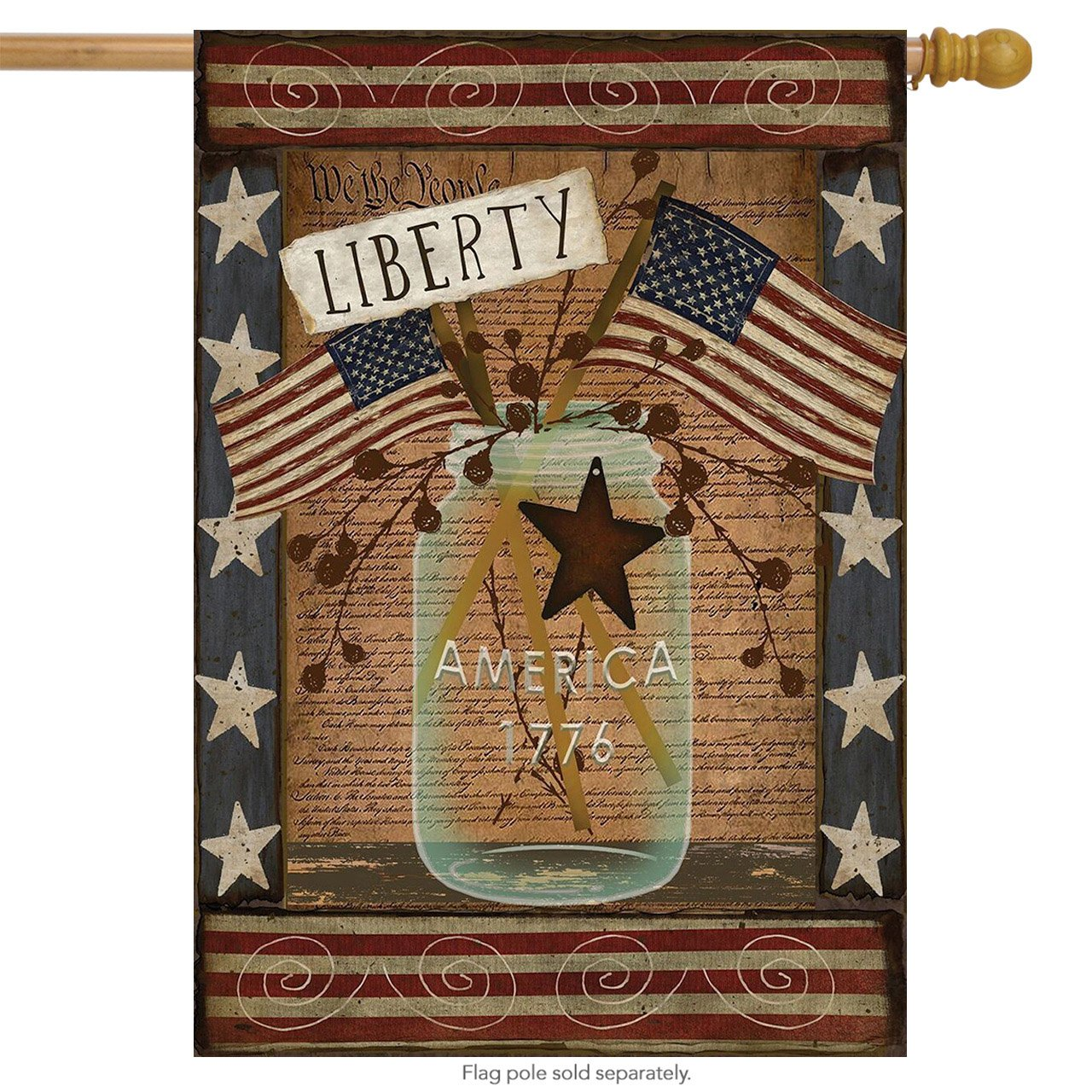 Amazon.com : Liberty Patriotic House Flag Primitive 4th of July USA ...