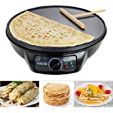 "Voche® 1000W Electric Pancake & Crepe Maker with 12"" Non Stick Hot Plate and Free Utensils"