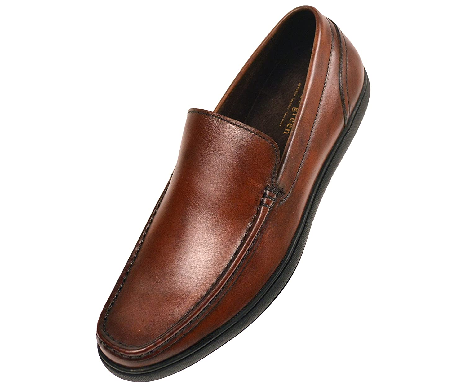 Asher Green Mens Tan Genuine Leather Moc Toe Slip On Dress Shoe with Black Rubber Sole Style Finlay-028