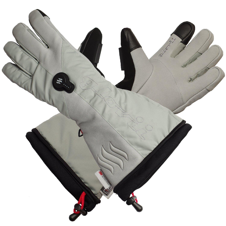 Glovii - Thermoaktive Ski Beheizte Handschuhe Von Batterie Erhitzt, Größen: S, M, L, XL, Hellgrau (M)