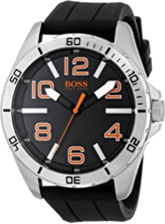 HUGO BOSS Orange Men s 1512943 Big Time Analog Display Quartz Black Watch 0564f2d8c4e
