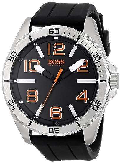 ed519d9f9121 BOSS Orange 1512943 Big Time Reloj negro con movimiento de cuarzo y  visualización analógica
