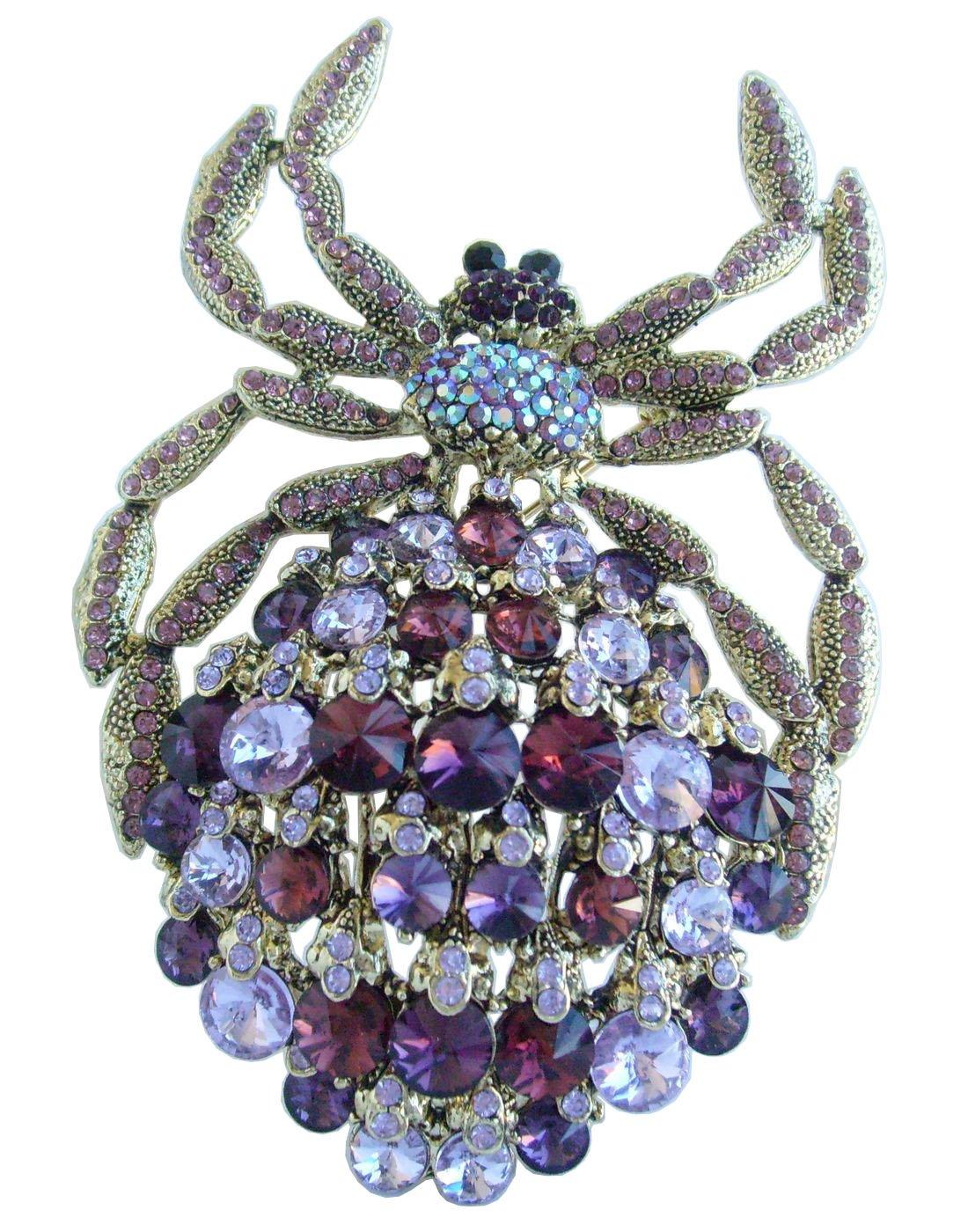 Sindary Gorgeous 4.33'' Rhinestone Crystal Spider Brooch Pin Pendant BZ4792 (Gold-Tone Purple)