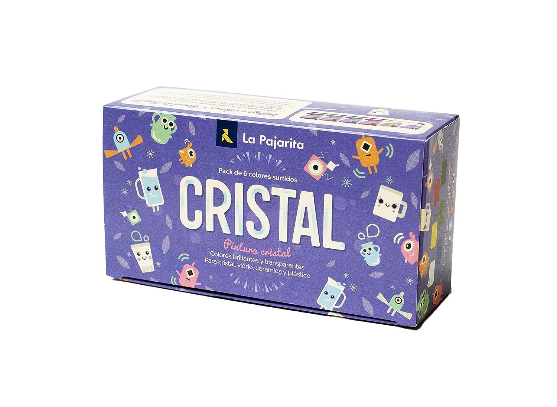 La Pajarita 999994C, Kit Pintura Cristal al Agua + Pincel, 6 Colores Brillantes y Transparentes