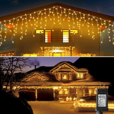 Blingstar Icicle Lights 33Ft 300 Led 8 Modes Christmas Lights Plug in Warm White String Lights for Christmas Wedding Party Home Garden Bedroom Indoor Outdoor Decoration : Garden & Outdoor
