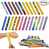 JOSENI 72 PCs Slap Bracelets Toys Party Favors Pack (24 Designs) with Colorful Hearts Emoji Peace Animal Prints-Birthday School Classroom Prize For Kids Boys Girls