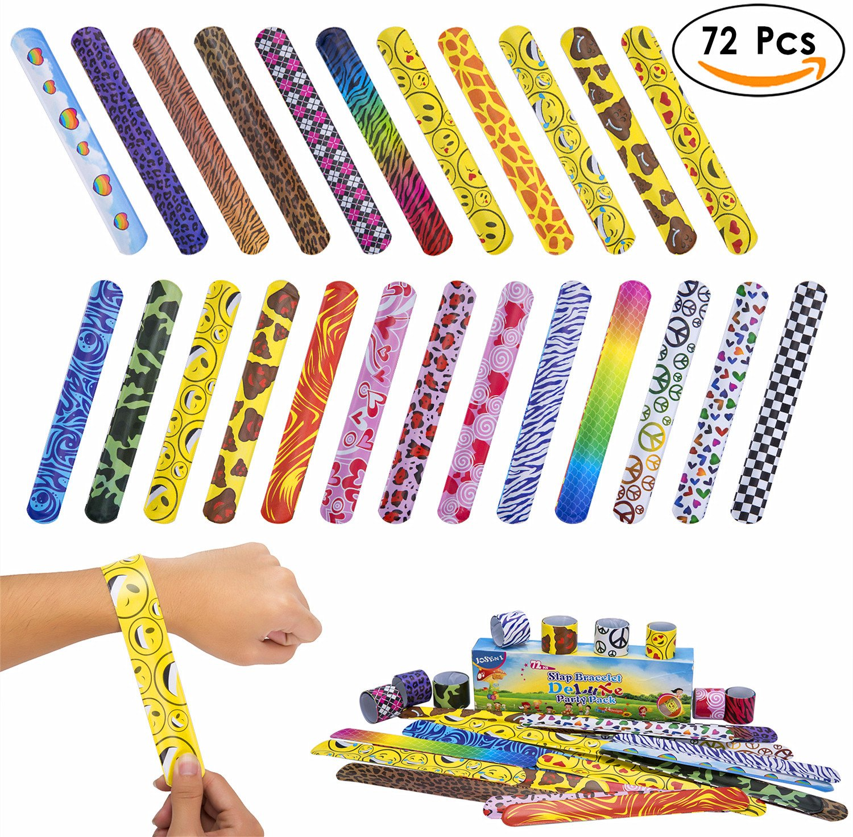 JOSENI 72 PCs Slap Bracelets Toys Party Favors Pack (24 Designs) with Colorful Hearts Emoji Peace Animal Prints-Birthday School Classroom Prize For Kids Boys Girls