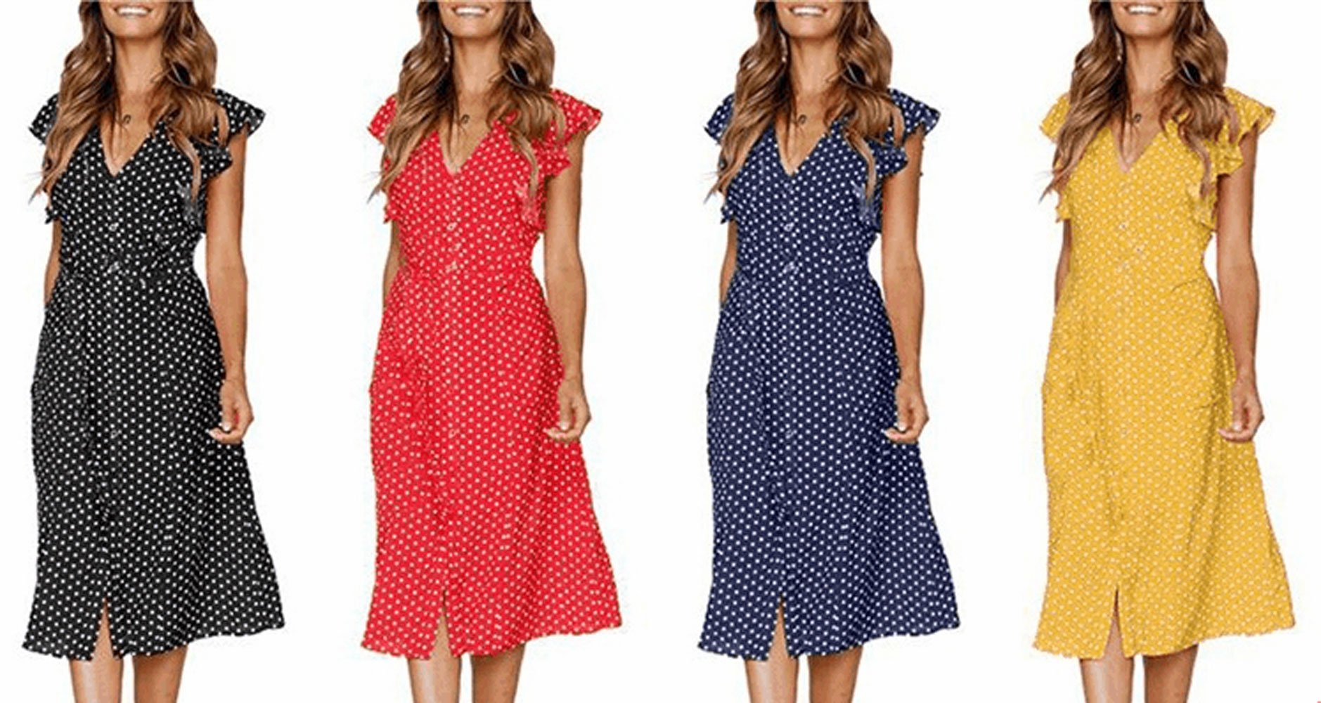 Pevor Women\'s Summer Casual Dress V Neck Polka Dots Ruffle Short Sleeve Swing Midi Dress Black S