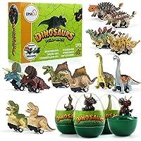 LIHAO 12 Coches Juguetes de Dinosaurios con Huevos Mini Coche de Carreras Juegos Vehículos Dinosaurios Realistas…