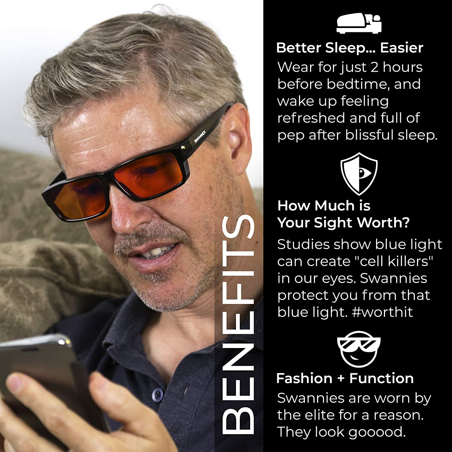 eb5b7fea4c01 Swanwick Sleep Fitover Blue Light Blocking Glasses and Computer Eyewear -  Wear OVER your Prescription Glasses or Readers ...  Amazon.co.uk  Health ...