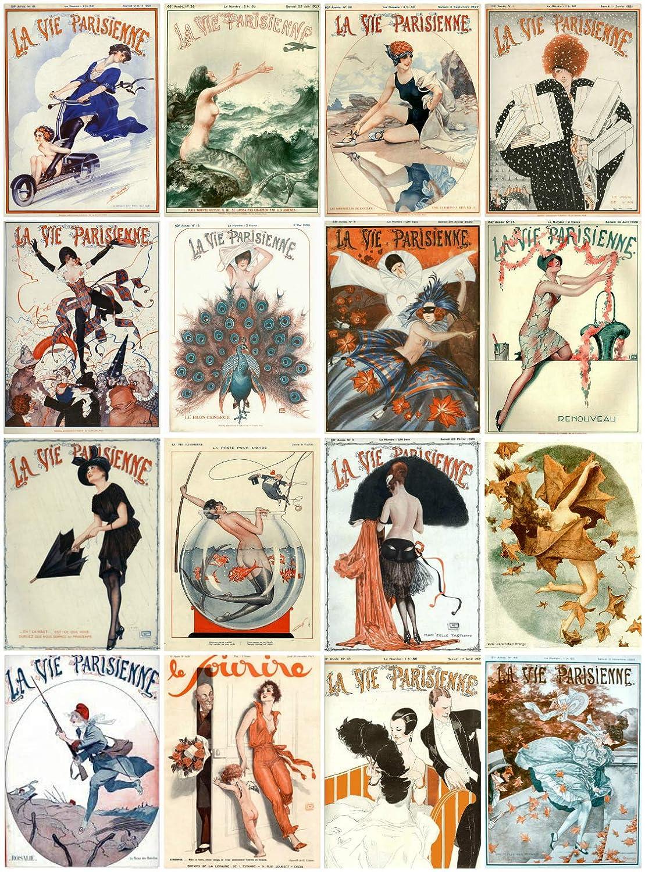 Crafts Decoupage Card Making Labels Vintage Printed Art DecoLa Vie Parisienne Reproduction Magazine Covers Images Collage Sheet #103 Scrapbooking