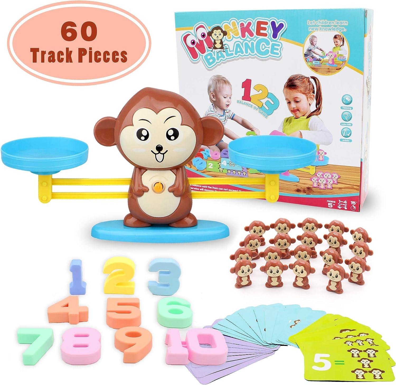 Juguete de Matemáticas, Monkey Balance Tarjetas de Matemáticas Bloque Digital Juego Educativo Juegos de Matemáticas Regalo para Niños y Niñas