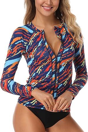 AXESEA Women Long Sleeve Rash Guard UPF 50+ UV Sun Protection Zip Front Swimsuit Shirt Printed Surfing Shirt Top