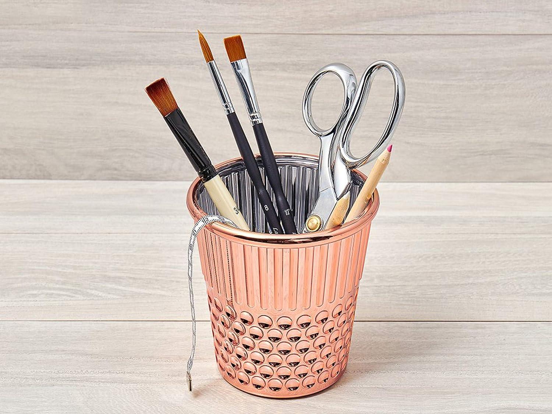 Hemline Thimble Desk Organiser - Rainbow - Pens Pencils Holder Crafts Gift  (Rose Gold)