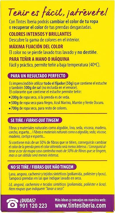 Iberia - Tinte Rosa para ropa, 40°C, pack de 6