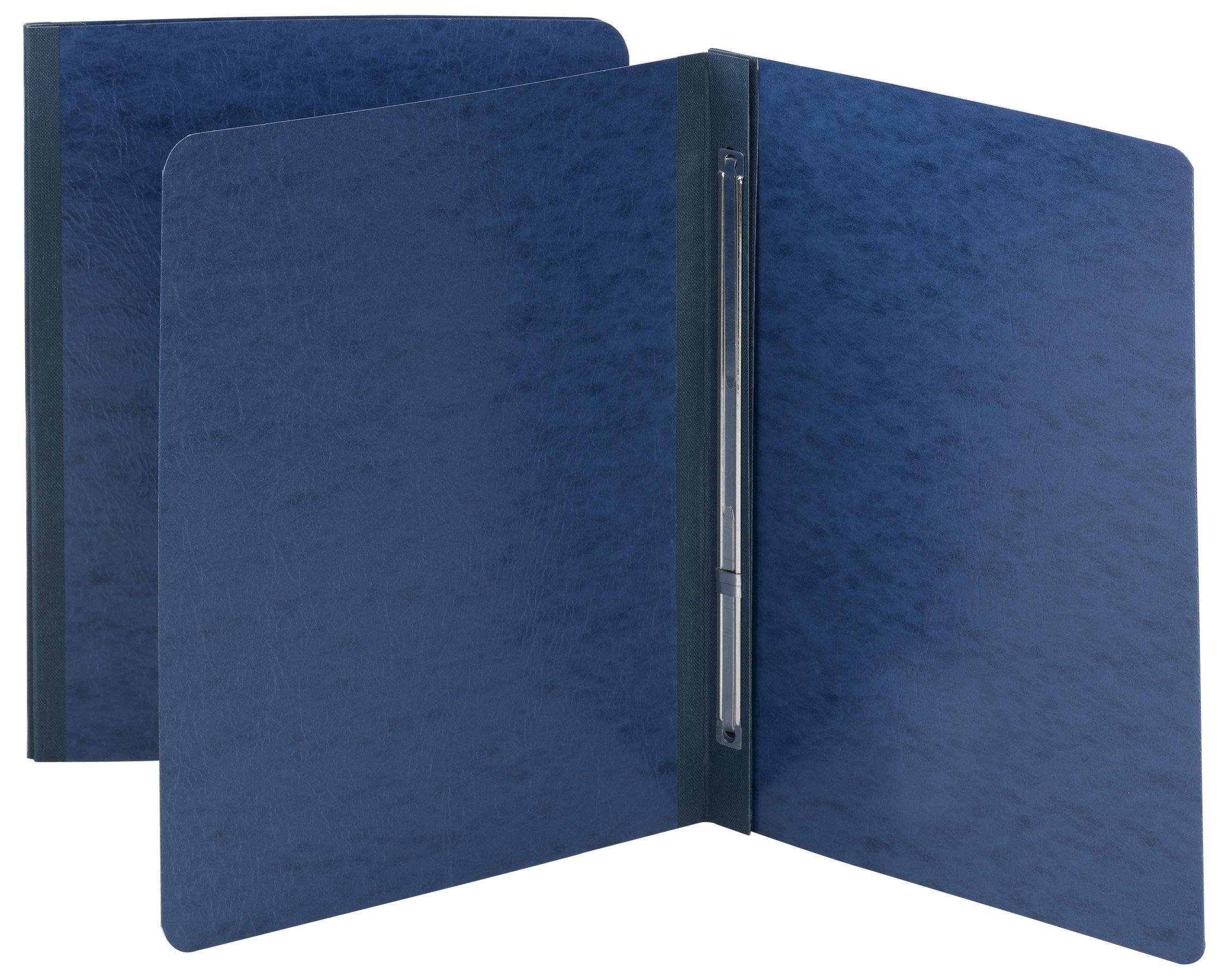 Smead Pressboard Report Cover, Metal Prong with Compressor, Side Fastener, 350 Sheets/3'' Capacity, Letter Size, Dark Blue, 25 per Box (81351)