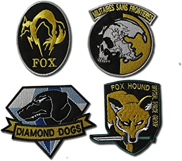 4 Embroidered Badges Metal Gear Solid Cosplay Airsoft IRON ON PATCH SET