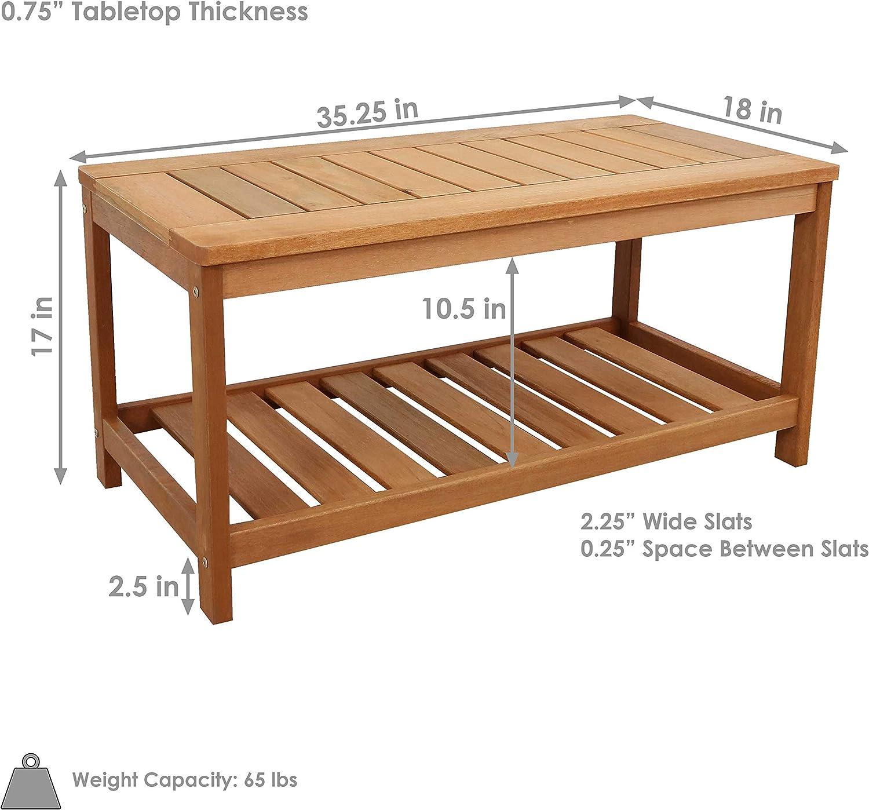 Sunnydaze Meranti Wood Outdoor Coffee Table with Teak Oil Finish - Outside Wooden Furniture Patio, Deck, Porch, Balcony, Garden and Backyard Furniture - 35-Inch : Garden & Outdoor
