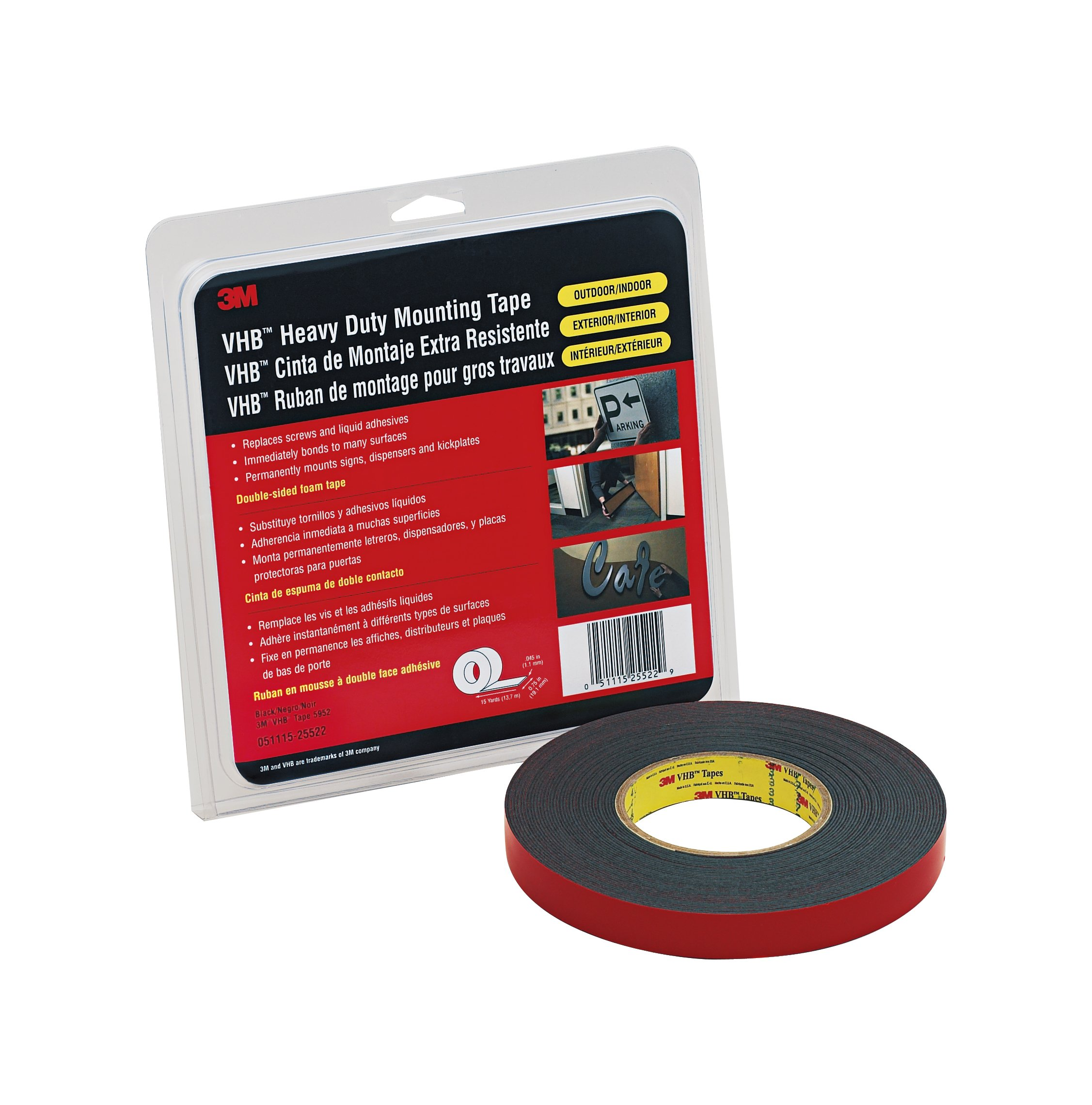 3M VHB Tape 5952 Black Small Pack, 1 in x 36 yd 45.0 mil (Case of 2)