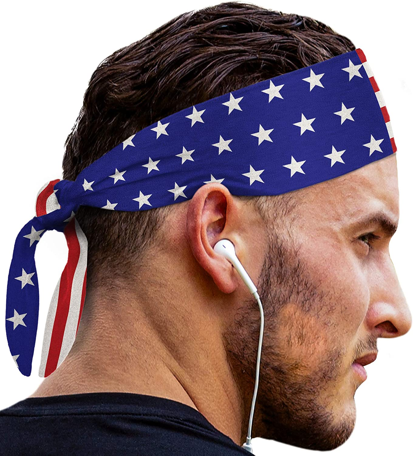 Head Tie Headbands: UNISEX Design With Sweat Wicking Fabric to Keep your Head Dry & Cool |Fits ALL HEAD SIZES| Headband Stays Securely in Place | Fits ALL HEAD SIZES | Fits Under Sports & Bike Helmets