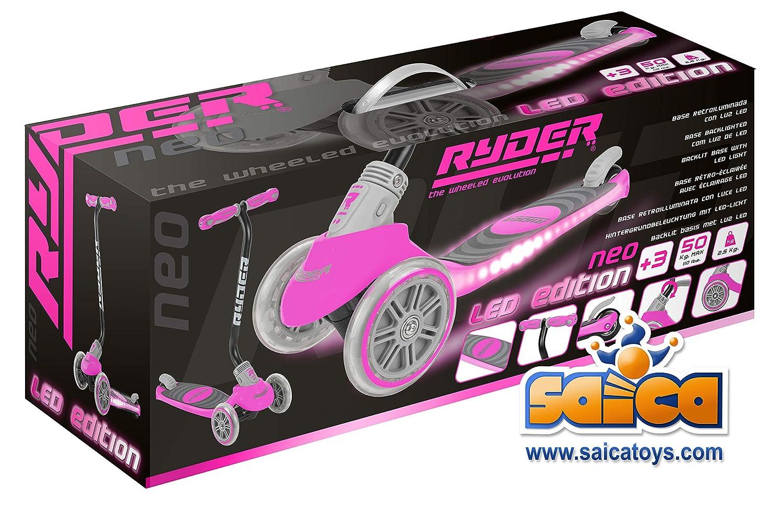 Saica Patinete 3 Ruedas Ryder Neo Led Fucsia, Color Negro (1 ...