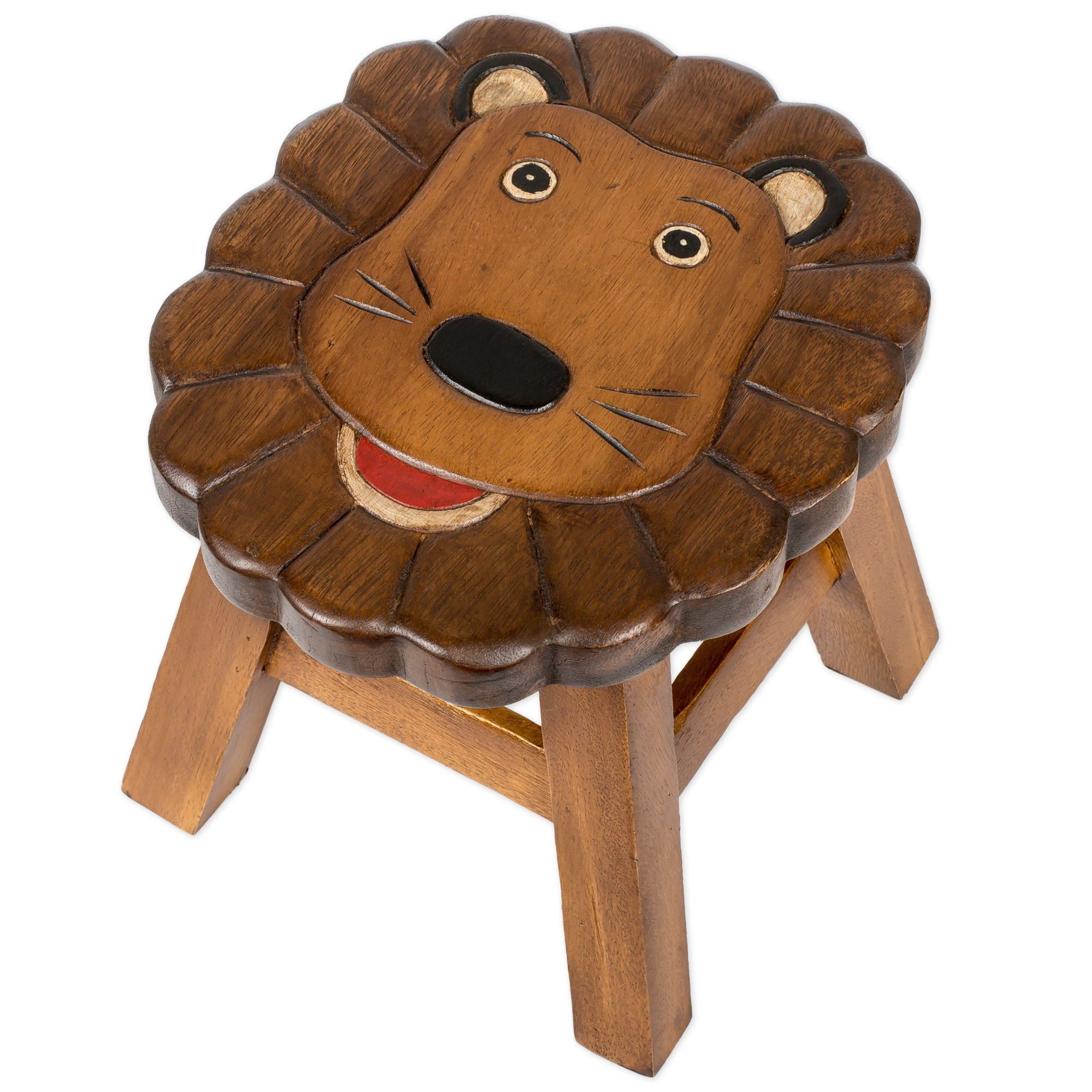 Lion Design Hand Carved Acacia Hardwood Decorative Short Stool by Sea Island Imports