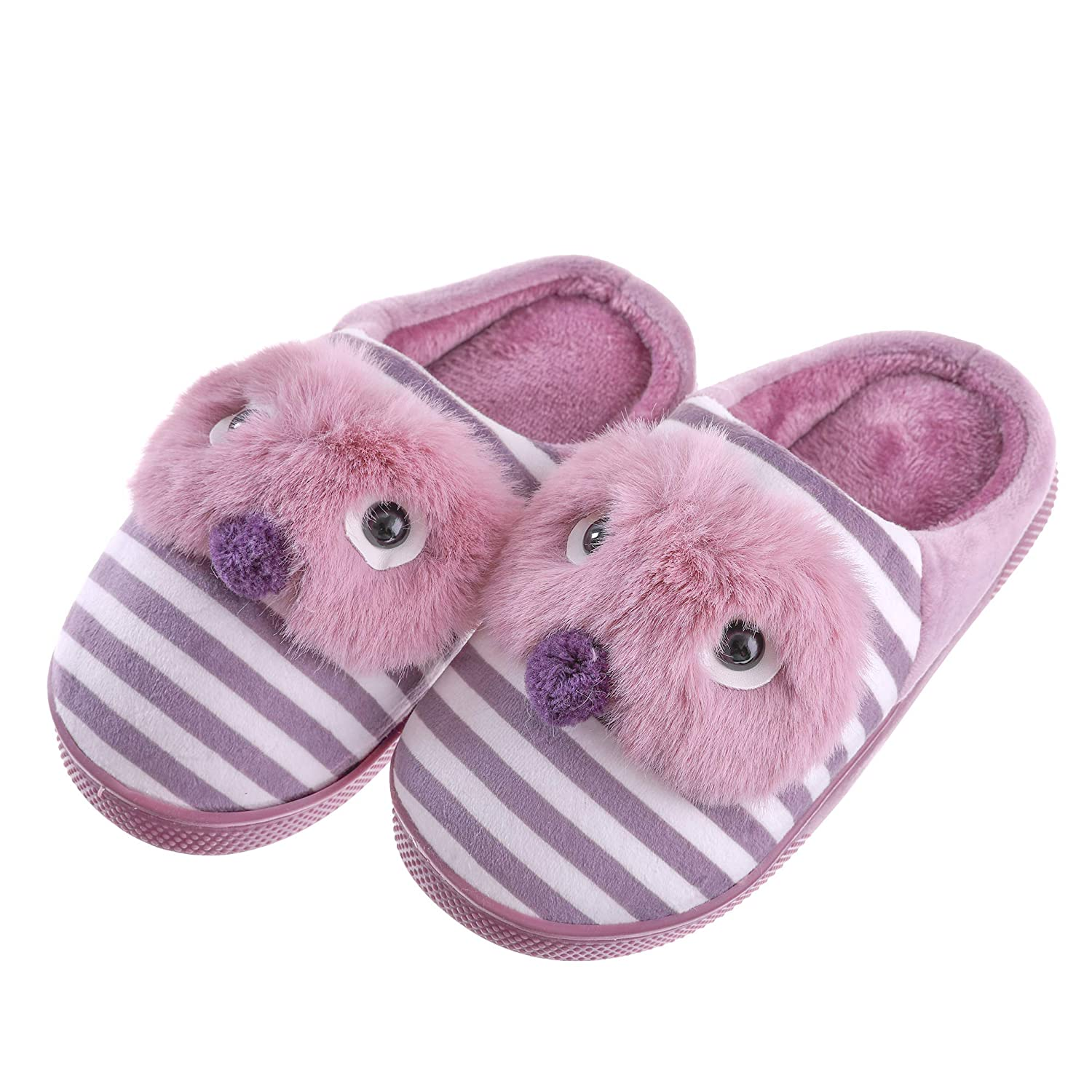 SCOWAY Toddler Kids Boys Girls Slippers Cute Cartoon Animal Soft Warm Non-Slip Winter Indoor House Shoes