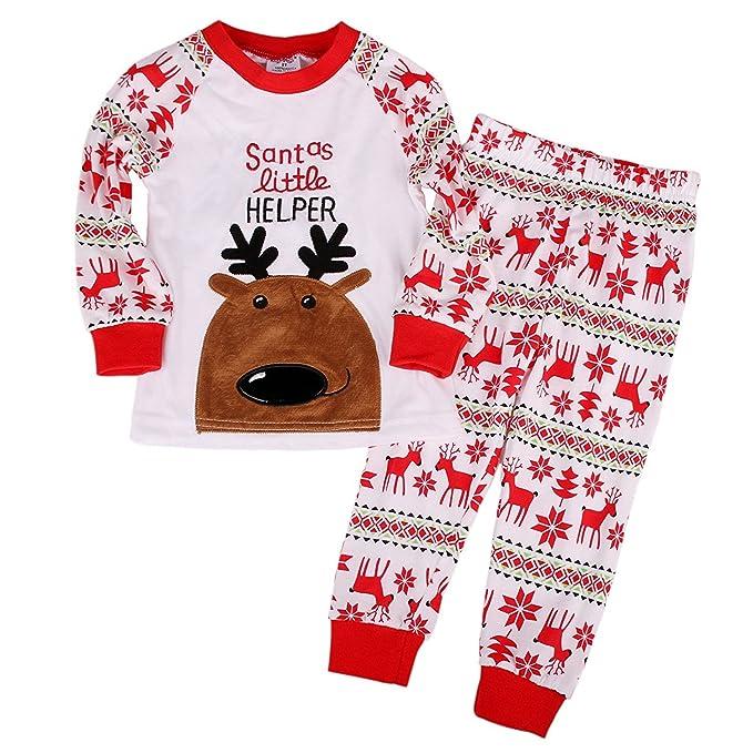 Niños Pijamas de Renos Establece Ropa de los niños Set niños de Navidad algodón Pjs Pijs