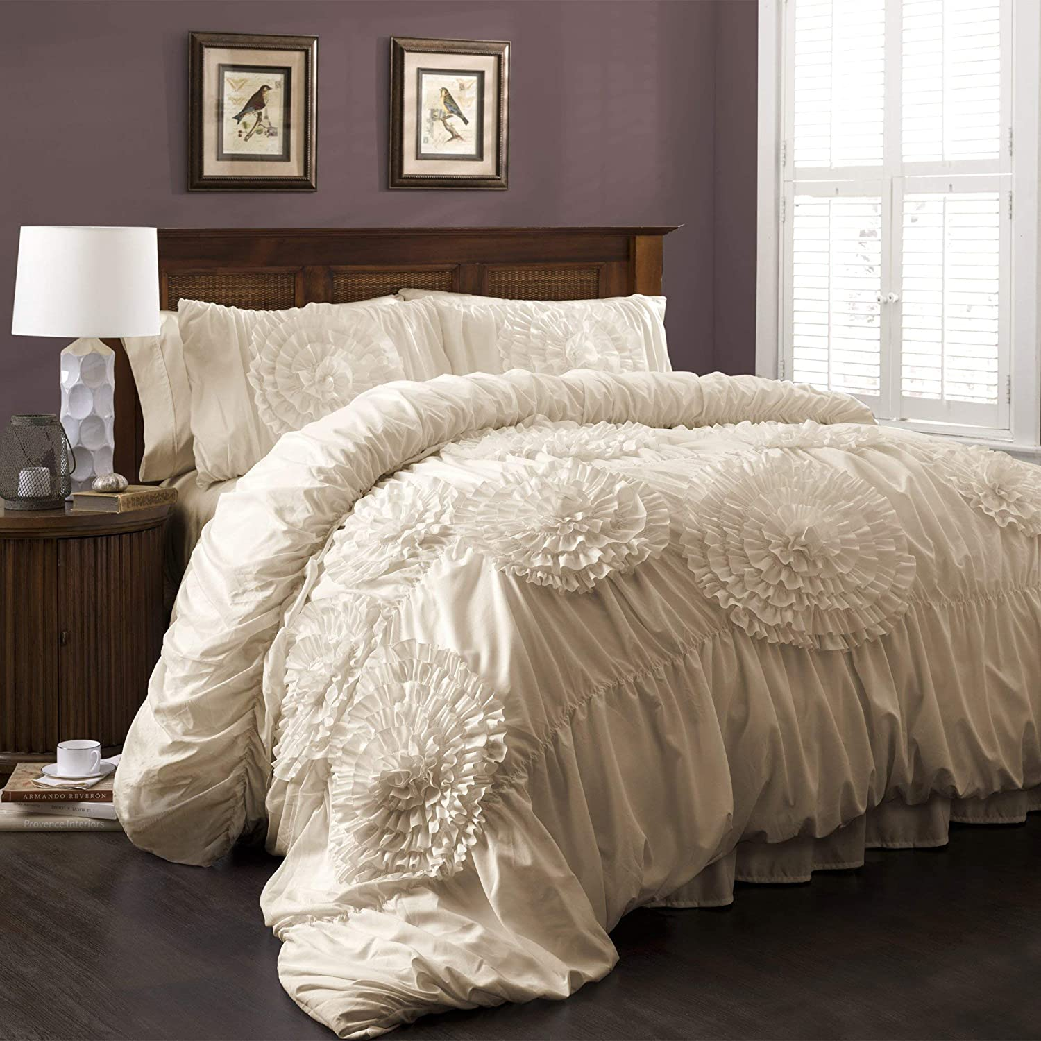 Lush Decor Serena Comforter Ivory Ruched Flower 3 Piece Set King (Renewed)