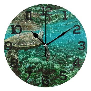Denriera Reloj de Pared Redondo con diseño de Animales de Coral acuático, silencioso, para Cocina, Sala de Estar, Dormitorio, baño, Oficina: Amazon.es: ...