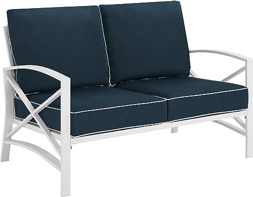 Crosley Furniture KO60008WH-NV Kaplan Outdoor Metal Loveseat