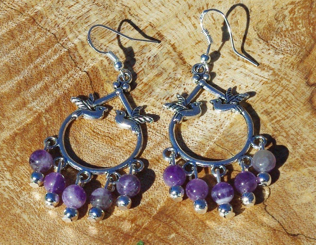 Amethyst Bird Chandelier Earrings